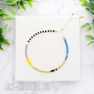 Bransoletka Minimal Dots - Blue and Yellow, bransoletki, koralikowe, minimalistyczne