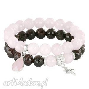 ręczne wykonanie bransoletki sada 2 - light pink & grenadine