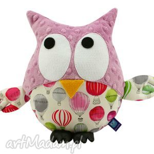 sowa gustaw, wzór balony - balon, sowa, sowy, sówka, minky, balony