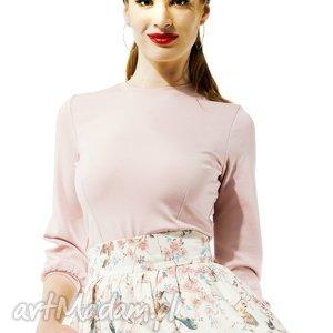 Pudrowa bluzka Amore , elegancka, klasyczna, bufka, uniwersalna, elastyczna