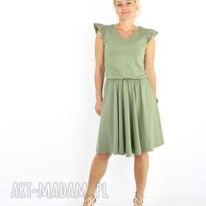 hand-made sukienki oliwkowa sukienka z bawelny