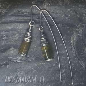 kolczyki srebrne z zielonym granatem grossular, granat