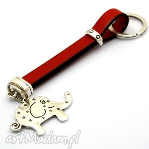handmade breloki skórzany brelok do kluczy lucky elephant red