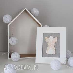aniołek stróż- anioł ceramiczny w ramce, chrzest, komunia, pokój, pamiątka