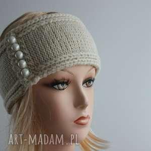 szeroka opaska perłowe guziczki, szeroka, guziki, opaska, ciepla, zimowa