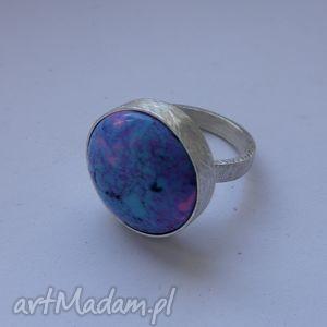 okrąg pierścionek, srebro, howlit, zmatowione