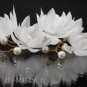 ozdoby do włosów kokówka jedwabna 18, kokówka, ślub, jedwab, kwiat, perła