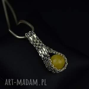 barbara fedorczyk elegancki wisiorek z bursztynem na grubym łańcuszku srebro