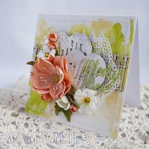 Kartka ślubna, kartka-ślubna, mixed-media, młodej-parze, na-ślub