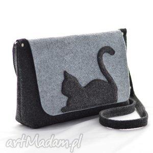 ręcznie zrobione na ramię nowa listonoszka z uroczym kotkiem - torebka filcu