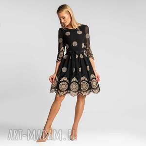 sukienka julina mini bellisa czarno-beżowa, mini, rozkloszowana, elegancka