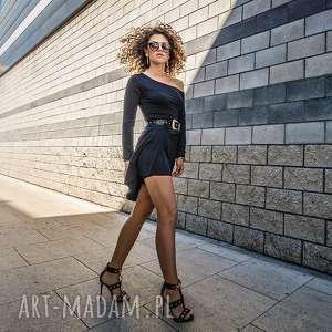 cindy - asymetryczna sukienka, elastyczna, drapowana, asymetryczna