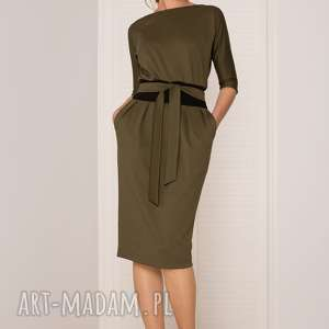 sukienki sukienka mono khaki ciemny, sukienka, uniwersalna, dobiura, dopasowana