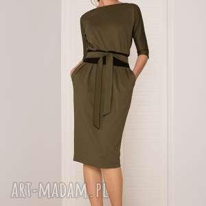 SUKIENKA MONO KHAKI CIEMNY, sukienka, uniwersalna, dobiura, dopasowana, elegancka