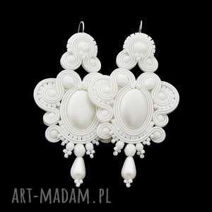 kolczyki ślubne exite white soutache, sutasz, stylowe, ślub, biel