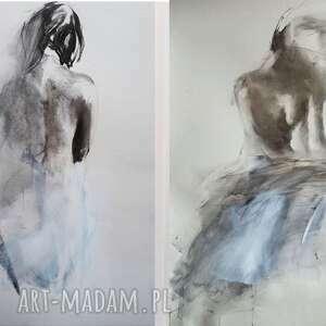 komplet obrazów 40x57cm, duży obraz do salonu, czarno biała, kobieta