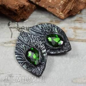 kameleon kolczyki magic forest w odcieniach srebra i zieleni, długie