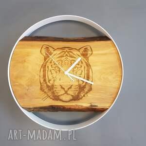 handmade zegary modny zegar ścienny drewniany tygrys, hand made, stal drewno grawer