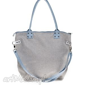 torba worek plecionka jasna blue, torba, torebka, plecionka, handmade, szara