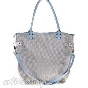 torba worek plecionka jasna blue, torba, torebka, plecionka, szara, prezent