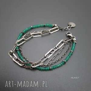 masywna z zielonego onyksu, srebro, oksydowane, onyks biżuteria