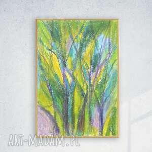 oprawiony rysunek z drzewami, zielony obrazek drzewa szkic w ramce, nowoczesny