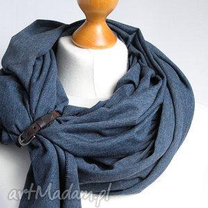 hand-made szaliki szal bawełniany, chusta uniwersalna z zapinką, szalik, apaszka z zapinką skórzaną