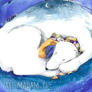 sen zimowy akwarela artystki adriany laube - obraz na papierze a3, akwarela, miś