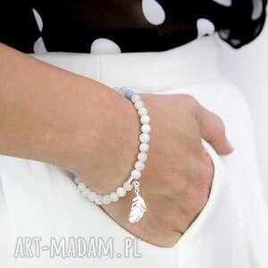 hand-made bransoletka z morganitów i srebra enjoy your life /ciesz się