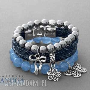ręcznie robione bransoletki blue jade, silver hematite & snake strap set