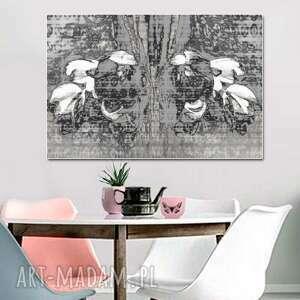 obraz z kwiatami abstrakcja beżowo szara, 120 x 80, nowoczesny na ścianę