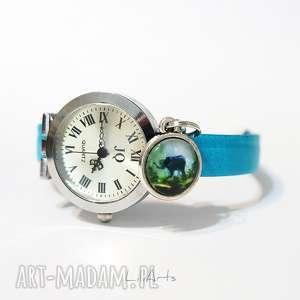 hand-made zegarki zegarek, bransoletka - słoń niebieski, skórzany