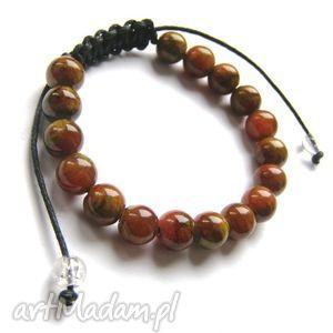 brązowy marmur, kamień, makrama bransoletki