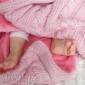 kocyk dziecięcy warkocz - różowy 77x105 cm, kocyk, warkocz, dziany, swetrowy
