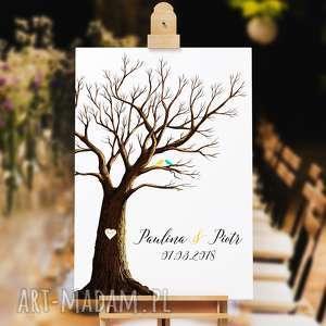 Rustykalne drzewo wpisów gości weselnych 50x70 cm 3 tusze, ślub, wesele, księga-gości