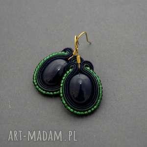 granatowe kolczyki sutasz, sznurek, eleganckie, koraliki, granatowe, ciemnozielone