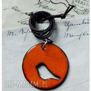 handmade wisiorki wisior ażurowy ptak koło