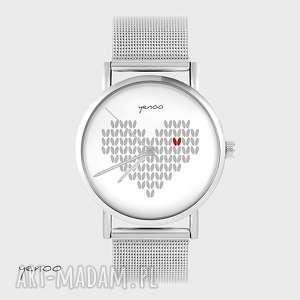 Zegarek, bransoletka - serce dziergane, szare metalowy zegarki