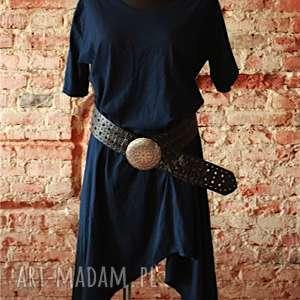 Blue Night, wygodna, bawełniana, niebieski, lużny, asymetryczna, ekstrawagancka