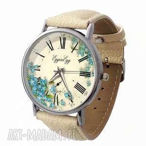 Niezapominajki - Skórzany zegarek z dużą tarczą, niezapominajki, zegarek, skóra