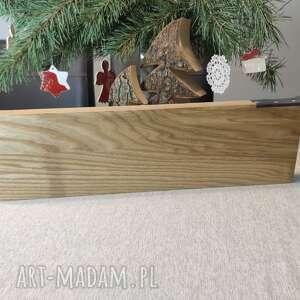 gruba deska z jesionu dodatkiem skóry naturalnej, deska, drewno, skóra