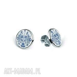 mini kolczyki sztyfty modre, kwiaty, ludowe, folklor, oryginalne, prezent