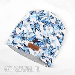 ciepła czapka beanie w motylki - ciepla, czapka, beanie, motyle, motyl, prezent