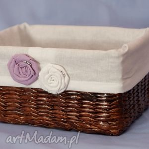 prostokątny koszyk eko koszyczek z różyczkami - pudełko