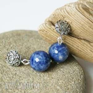 kolczyki sodalit w srebrze, kolczyki, sodalit, kulki, srebro, kamień, 12mm biżuteria