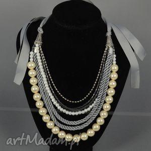 Kolia naszyjnik Inga, kolia, korale, naszyjnik, perły, wstążka, elegancka