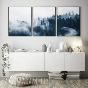 ręcznie zrobione plakaty las we mgle