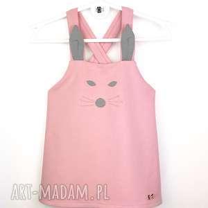 Sukieneczka na szelkach Pink Bunny 92, sukienka, dresowa, szelki,