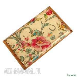 kwiatowy - wizytownik, prezent, stylowy, kobiecy, kwiaty, romantyczny