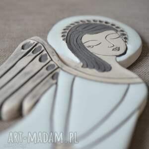 Anioł ceramiczny - Vela, anioł, płasorzeźba, ślub, aniołek, zawieszka,